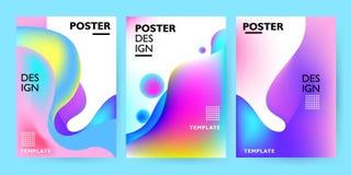 Συλλογή προτύπων σχεδίου αφισών με τις ζωηρόχρωμες αφηρημένες υγρές μορφές Για το ιπτάμενο, το φυλλάδιο, το φυλλάδιο και την τυπω ελεύθερη απεικόνιση δικαιώματος