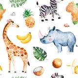 Συλλογή σαφάρι με giraffe, ρινόκερος, με ραβδώσεις, μπανάνα, ανανάς, καρύδα, φύλλα φοινικών ελεύθερη απεικόνιση δικαιώματος