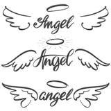 Συλλογή σκίτσων εικονιδίων φτερών αγγέλου, θρησκευτικό καλλιγραφικό σύμβολο κειμένων της συρμένης χέρι διανυσματικής απεικόνισης  απεικόνιση αποθεμάτων