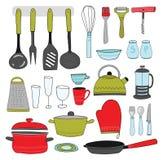 Συλλογή σκευών για την κουζίνα Ζωηρόχρωμα εργαλεία κουζινών στο άσπρο υπόβαθρο Συρμένο χέρι ύφος Στοκ Εικόνες