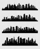 Συλλογή σκιαγραφιών πόλεων με το μαύρο χρώμα στο transparrent υπόβαθρο Στοκ Εικόνες