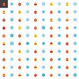 Συλλογή στοιχείων Χριστουγέννων, επίπεδα εικονίδια καθορισμένα διανυσματική απεικόνιση