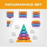 Συλλογή στοιχείων Infographic κορδελλών σκιών - επιχειρησιακή διανυσματική απεικόνιση στο επίπεδο ύφος σχεδίου για την παρουσίαση διανυσματική απεικόνιση
