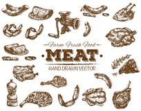 Συλλογή συρμένου του χέρι σκίτσου κρέατος Στοκ εικόνα με δικαίωμα ελεύθερης χρήσης