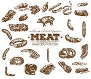 Συλλογή συρμένου του χέρι σκίτσου κρέατος Στοκ φωτογραφία με δικαίωμα ελεύθερης χρήσης