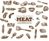 Συλλογή συρμένου του χέρι σκίτσου κρέατος Στοκ Φωτογραφίες