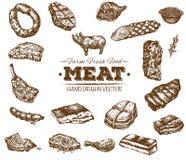 Συλλογή συρμένου του χέρι σκίτσου κρέατος Στοκ Εικόνες