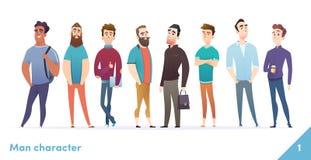 Συλλογή σχεδίου χαρακτήρα ανθρώπων Σύγχρονο επίπεδο ύφος κινούμενων σχεδίων Στάση αρσενικών ή manegers από κοινού Τα νέα επαγγελμ ελεύθερη απεικόνιση δικαιώματος