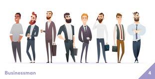 Συλλογή σχεδίου χαρακτήρα επιχειρηματιών ή ανθρώπων Σύγχρονο επίπεδο ύφος κινούμενων σχεδίων Τα νέα επαγγελματικά αρσενικά θέτουν απεικόνιση αποθεμάτων