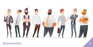 Συλλογή σχεδίου χαρακτήρα επιχειρηματιών ή ανθρώπων Σύγχρονο επίπεδο ύφος κινούμενων σχεδίων Τα νέα επαγγελματικά αρσενικά θέτουν διανυσματική απεικόνιση