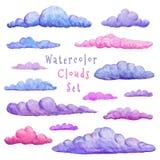 Συλλογή σύννεφων Watercolor Διαφορετική παραλλαγή των σύννεφων σύγχρονο αφηρημένο σύνολο αυτοκόλλητων ετικεττών Συρμένα χέρι διακ διανυσματική απεικόνιση