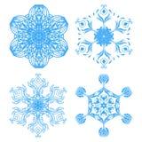 Συλλογή τέσσερα snowflakes κομψότητας Στοκ Εικόνες