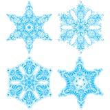 Συλλογή τέσσερα snowflakes κομψότητας Στοκ φωτογραφίες με δικαίωμα ελεύθερης χρήσης