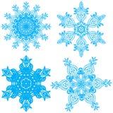 Συλλογή τέσσερα snowflakes κομψότητας Στοκ εικόνες με δικαίωμα ελεύθερης χρήσης
