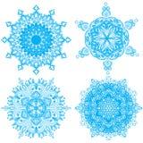 Συλλογή τέσσερα snowflakes κομψότητας Στοκ Εικόνα