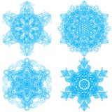 Συλλογή τέσσερα snowflakes κομψότητας Στοκ Φωτογραφίες