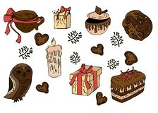 Συλλογή της Χαρούμενα Χριστούγεννας και των στοιχείων καλής χρονιάς διανυσματική απεικόνιση