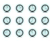 Συλλογή τοίχων ρολογιών, σύνολο εικονιδίων χρονομέτρων, διάνυσμα Στοκ Εικόνα