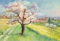 Συλλογή τοπίων Watercolor ελεύθερη απεικόνιση δικαιώματος