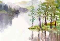 Συλλογή τοπίων Watercolor Στοκ Εικόνες