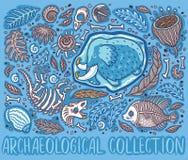 Συλλογή του απολιθώματος Triceratops κινούμενων σχεδίων, μαμμούθ στον πάγο, τις αρχαίες ammonites φτέρες, το τριλοβίτη, τα φύλλα  διανυσματική απεικόνιση