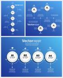 Συλλογή του αφηρημένου σχεδίου Infographic στο μπλε Στοκ εικόνα με δικαίωμα ελεύθερης χρήσης