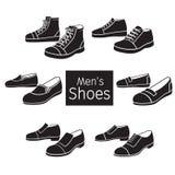 Συλλογή του διαφορετικού ζευγαριού παπουτσιών ατόμων ` s, μονοχρωματική Στοκ φωτογραφία με δικαίωμα ελεύθερης χρήσης
