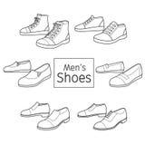 Συλλογή του διαφορετικού ζευγαριού παπουτσιών ατόμων ` s, περίληψη Στοκ Φωτογραφία