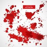Συλλογή του κόκκινου υποβάθρου μελανιού splatter απεικόνιση αποθεμάτων