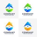 Συλλογή του σχεδίου λογότυπων καθαρισμού σπιτιών διανυσματική απεικόνιση