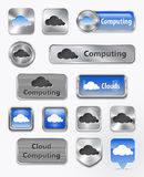 Συλλογή του υπολογισμού σύννεφων και των στοιχείων σύννεφων Στοκ Εικόνα
