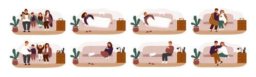 Συλλογή των άρρωστων ή άρρωστων και ανακτημένων ανθρώπων στον καναπέ ή τον καναπέ Δέσμη των ενηλίκων και των παιδιών που έχουν γρ διανυσματική απεικόνιση
