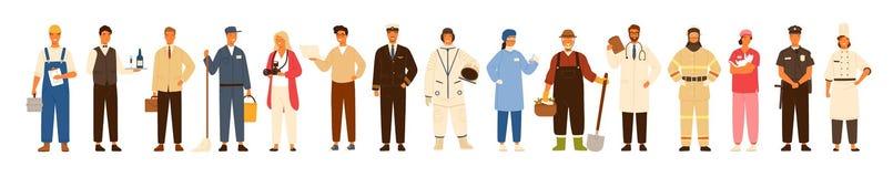 Συλλογή των ανδρών και των γυναικών των διάφορων επαγγελμάτων ή επάγγελμα που φορά επαγγελματικό ομοιόμορφο - εργάτης οικοδομών διανυσματική απεικόνιση