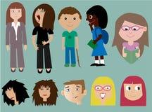Συλλογή των ανθρώπων με τις εκφράσεις Στοκ Εικόνες