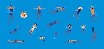 Συλλογή των ανθρώπων που ντύνονται σε swimwear στην πισίνα Δέσμη των ανδρών και των γυναικών στα μαγιό που εκτελούν το νερό ελεύθερη απεικόνιση δικαιώματος