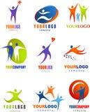 Συλλογή των αφηρημένων λογότυπων ανθρώπων Στοκ Φωτογραφία