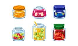 Συλλογή των βάζων γυαλιού με τα συντηρημένα φρέσκων και κονσερβοποιημένη τροφίμων τρόφιμα φρούτων και λαχανικών, στο διάνυσμα γυα διανυσματική απεικόνιση