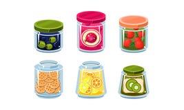 Συλλογή των βάζων γυαλιού με τα φρέσκων και κονσερβοποιημένη τροφίμων τρόφιμα συστατικών, στα γυαλικά διανυσματικό Illustratio ελεύθερη απεικόνιση δικαιώματος