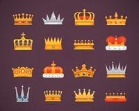Συλλογή των βραβείων εικονιδίων κορωνών για τους νικητές, πρωτοπόροι, ηγεσία Βασιλικός βασιλιάς, βασίλισσα, κορώνες πριγκηπισσών διανυσματική απεικόνιση