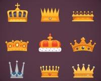 Συλλογή των βραβείων κορωνών για τους νικητές, πρωτοπόροι, ηγεσία Βασιλικός βασιλιάς, βασίλισσα, κορώνες πριγκηπισσών διανυσματική απεικόνιση