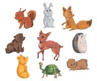 Συλλογή των δασικών ζώων Διακοσμητικά στοιχεία στο ύφος watercolor για τη ευχετήρια κάρτα, πρόσκληση, κόμμα ντους μωρών Κινούμενα διανυσματική απεικόνιση