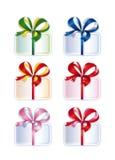 Συλλογή των δεμένων κιβωτίων με τα δώρα Στοκ Εικόνα