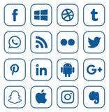 Συλλογή των δημοφιλών κοινωνικών λογότυπων μέσων διανυσματική απεικόνιση