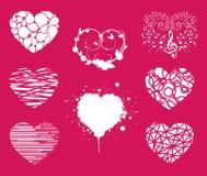 Συλλογή των διάφορων μορφών συμβόλων καρδιών αγάπης Στοκ Εικόνες