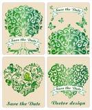 Συλλογή των διακοσμητικών δέντρων και των καρδιών Στοκ Φωτογραφίες