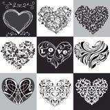 Συλλογή των διακοσμητικών καρδιών Μπορεί να χρησιμοποιηθεί για τη ευχετήρια κάρτα Στοκ εικόνες με δικαίωμα ελεύθερης χρήσης
