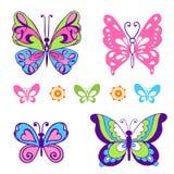 Συλλογή των διακοσμητικών πολύχρωμων πεταλούδων Διανυσματικό Illust Στοκ εικόνες με δικαίωμα ελεύθερης χρήσης