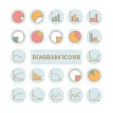 Συλλογή των διανυσματικών λεπτών γραμμικών εικονιδίων διαγραμμάτων Στοκ Εικόνες