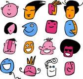 Συλλογή των εικονιδίων και των λογότυπων των κωμικών κεφαλιών Στοκ Φωτογραφίες