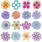 Συλλογή των ενιαίων λουλουδιών Στοκ Εικόνες